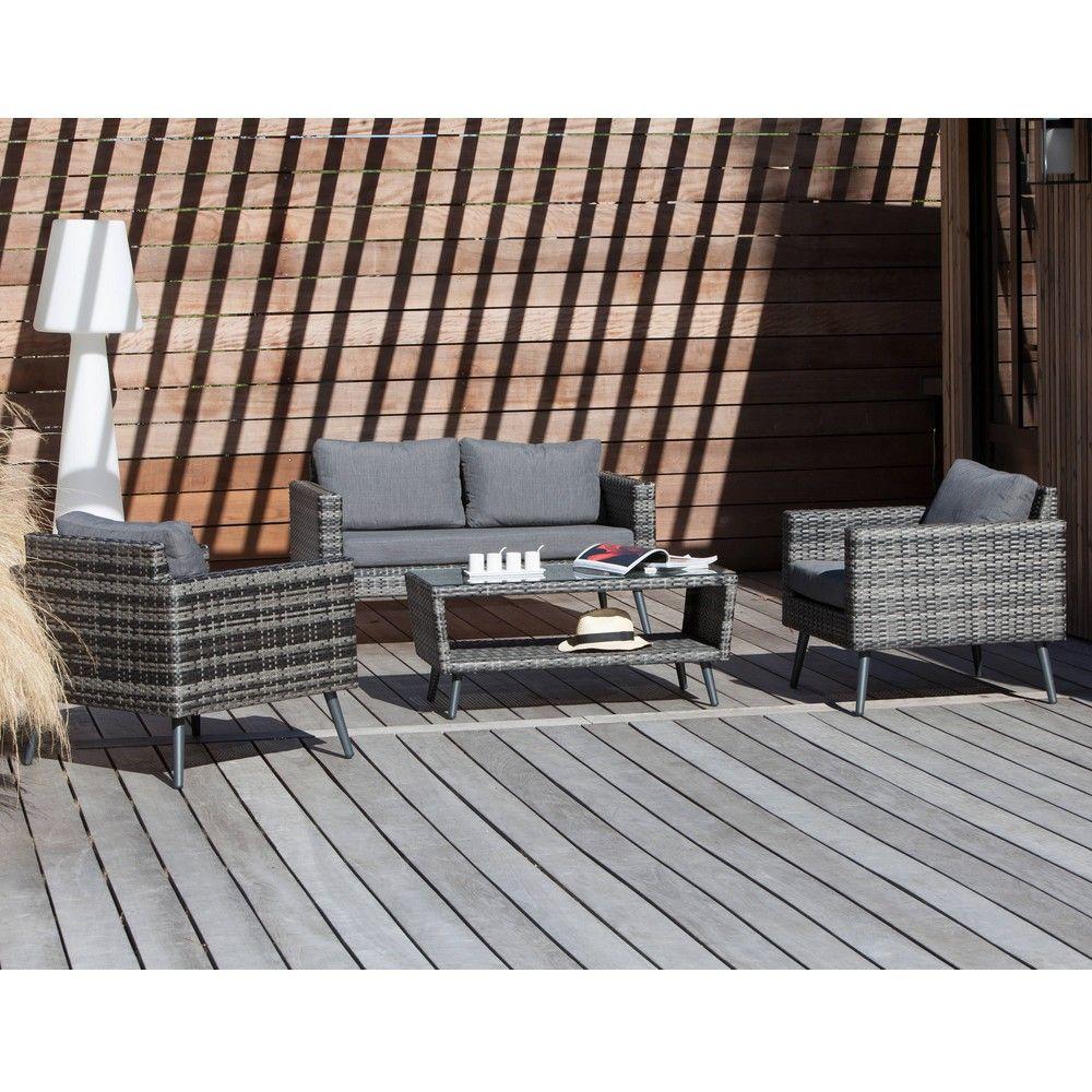 Salon de jardin bas Combi résine tressée - Gamm Vert