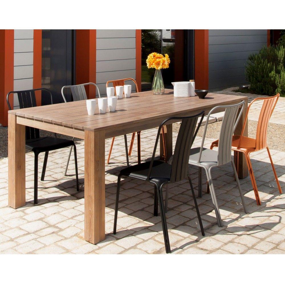 salon de jardin table k a bois 6 chaises azuro paprika. Black Bedroom Furniture Sets. Home Design Ideas