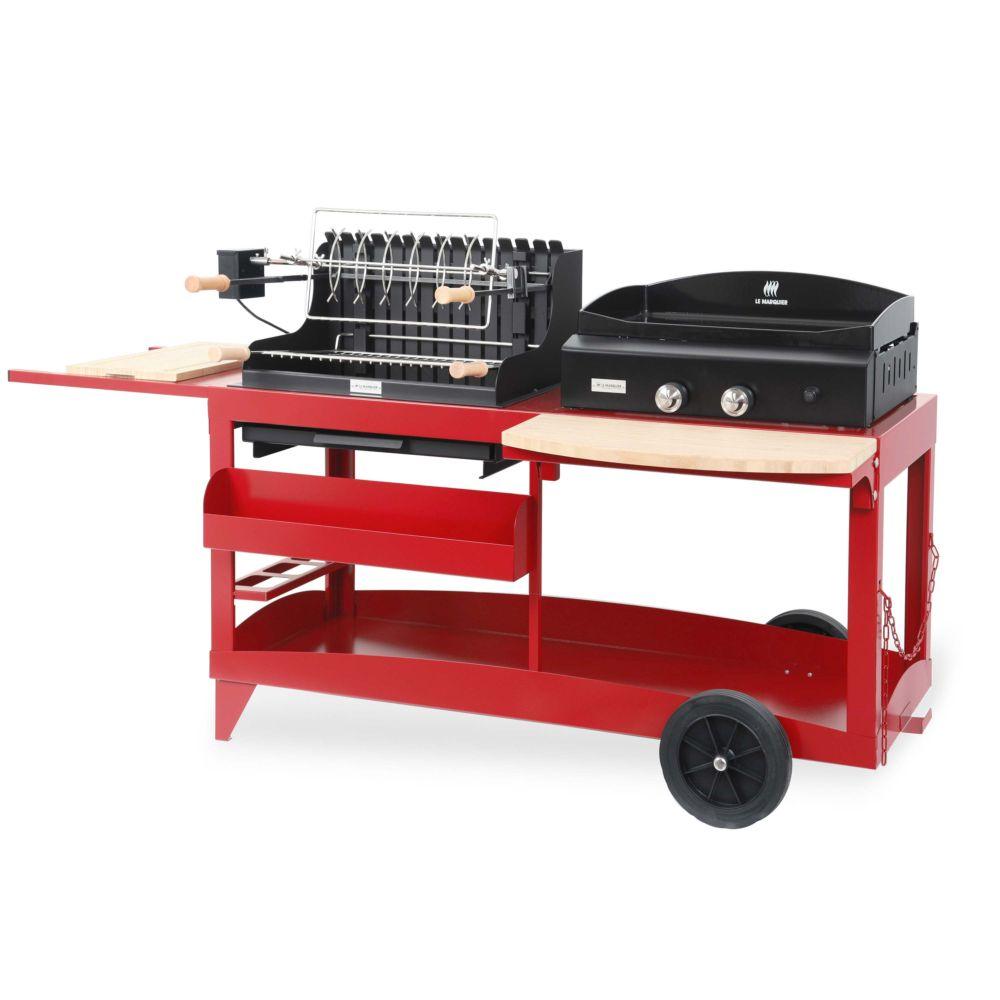 Plancha à gaz + barbecue Le Marquier Mendy Alde Rouge