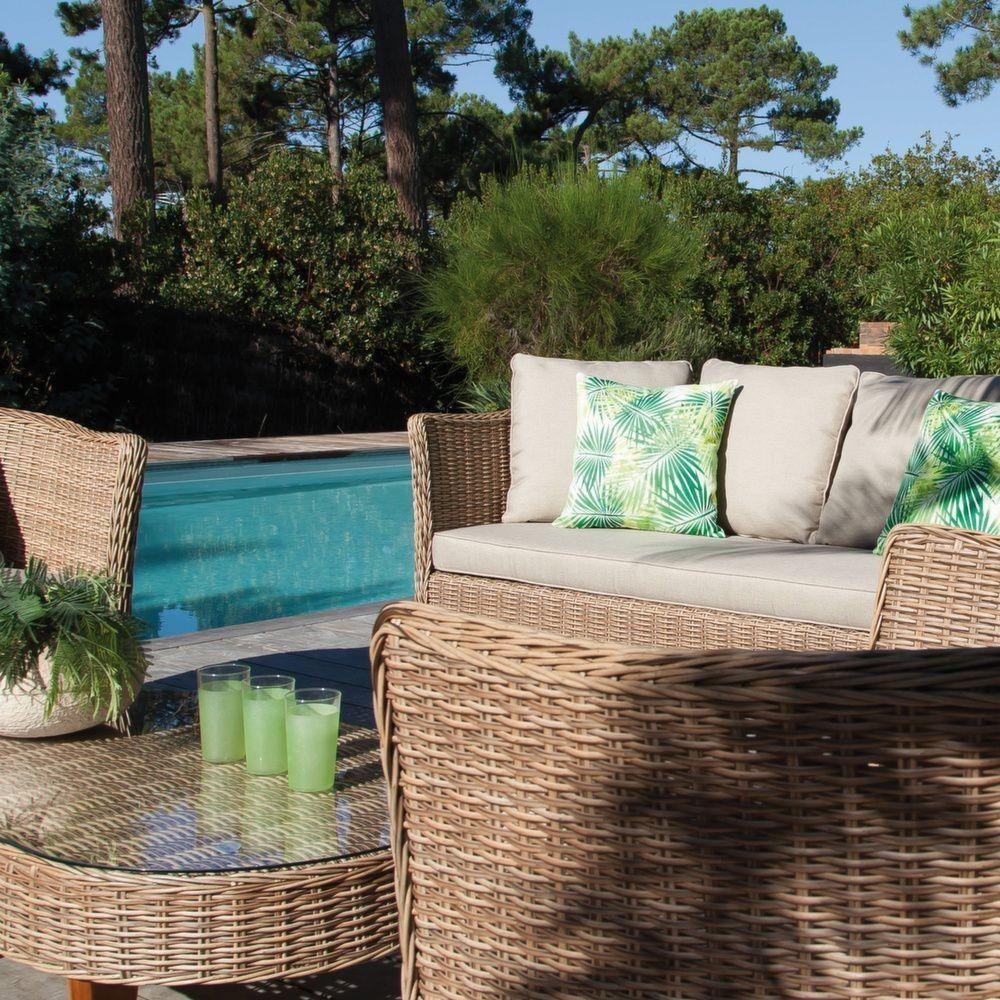 Salon de jardin bas avani r sine tress e 2 fauteuils 1 canap 1 table gamm vert - Salon de jardin bas resine ...