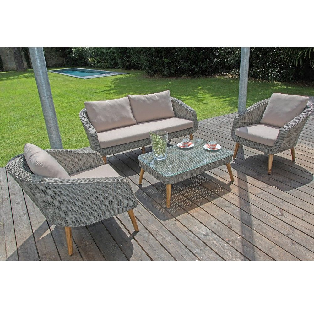 Salon de jardin bas centura r sine tress e 2 fauteuils for But salon de jardin