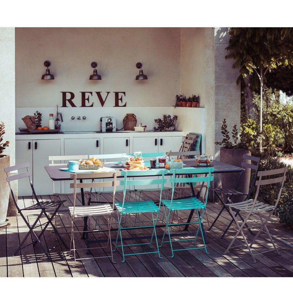 Salon de jardin fermob 10 pers 1 table cargo 10 chaises bristro gamm vert - Salon de jardin fermob ...