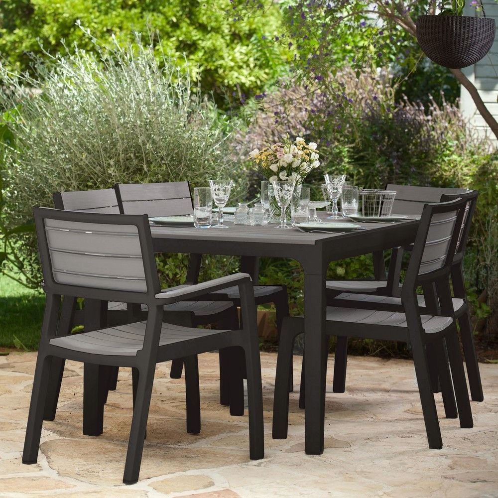 Salon de jardin r sine harmony table 6 fauteuils l165 for Salon de jardin empilable