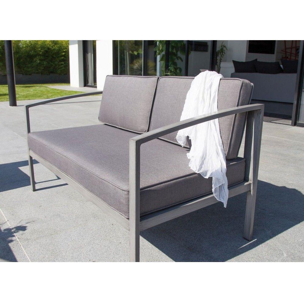 Salon de jardin trieste 1 canap 2 fauteuils 1 table gamm vert - Salon de jardin en teck gamm vert ...