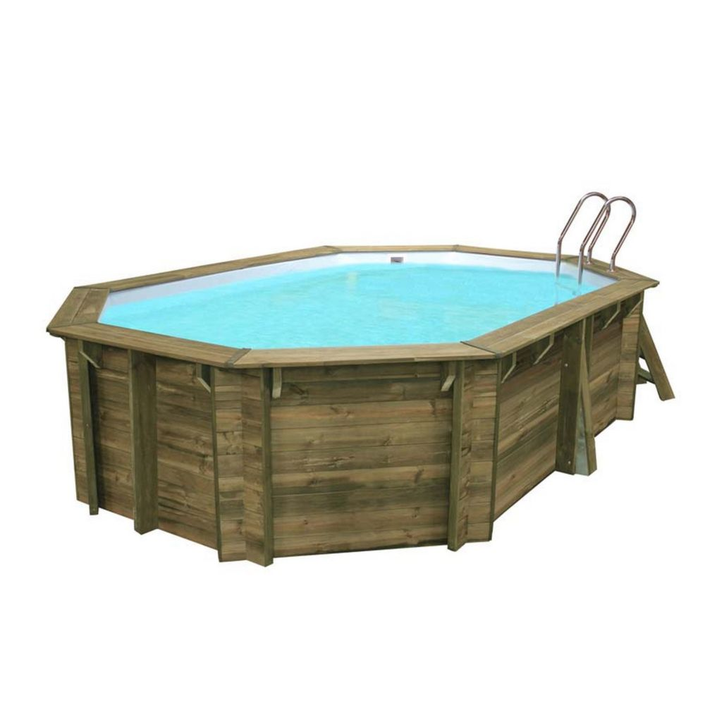 Piscine en bois trait cannelle l x l m sunbay for Piscine en bois sunbay