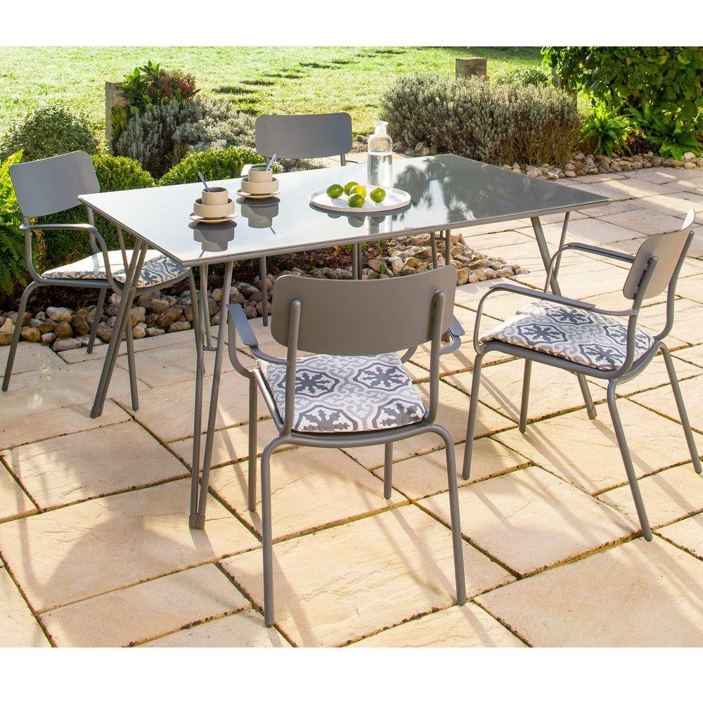 Salon de jardin Oslo : Table L150 L90 cm+ 4 fauteuils aluminium L ...