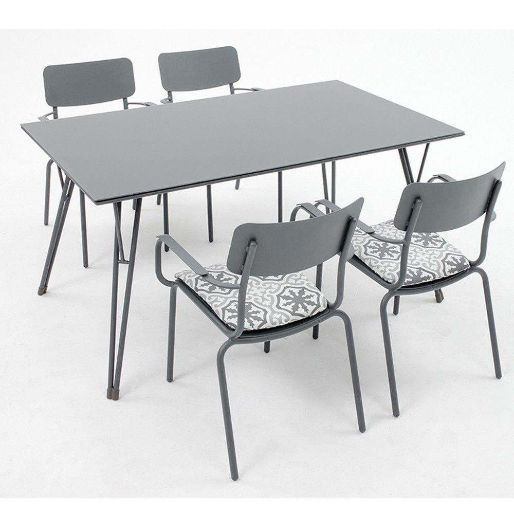 salon de jardin oslo table l150 l90 cm 4 fauteuils aluminium l 156 x l 96 x h 16 l 96 x l. Black Bedroom Furniture Sets. Home Design Ideas