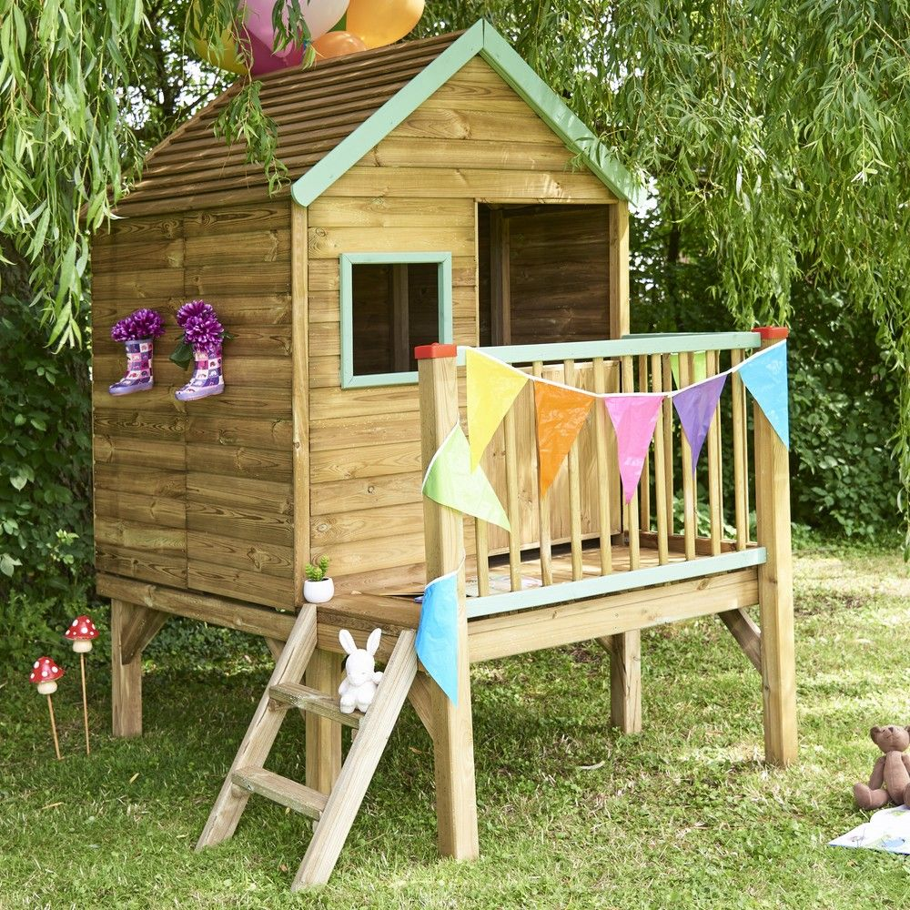 Maisonnette enfant bois traité Winny sur pilotis