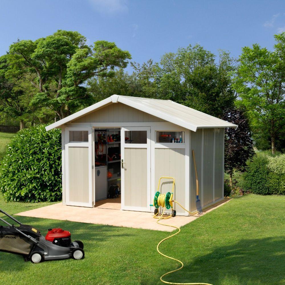 Abri de jardin résine Grosfillex 7,53 mÂ_ Ep. 26 mm Utility gris/vert  + Kit d'ancrage