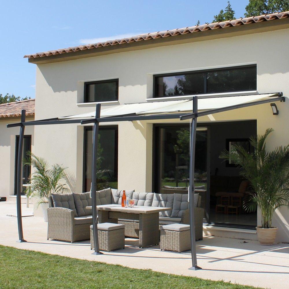 Tonnelle adossé aluminium + Stores 4x3,35m Solea 2 colis - Gamm Vert d0f4ed242e9a