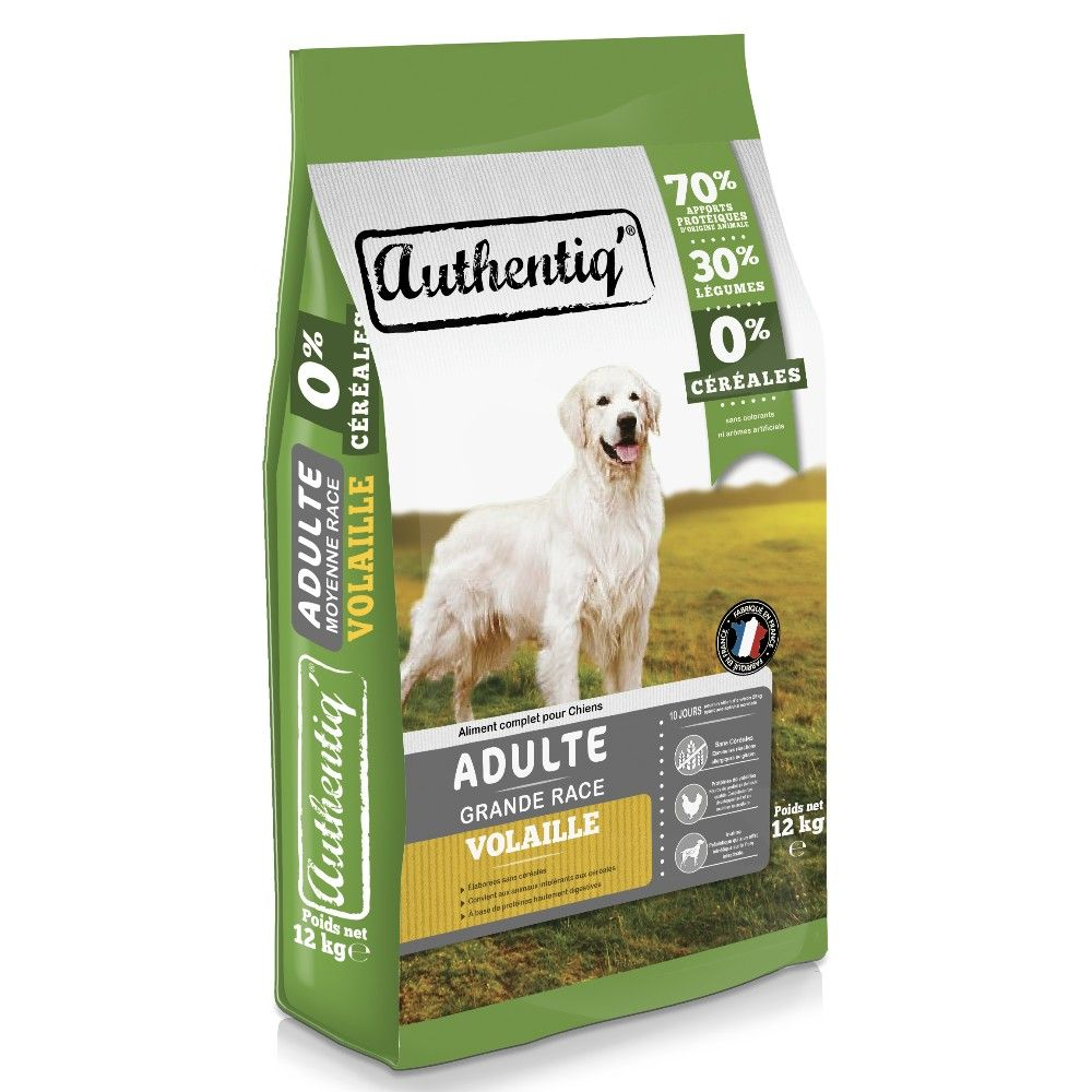 Croquettes Authentiq' Chiens Adulte Grande Race Volaille 12KG