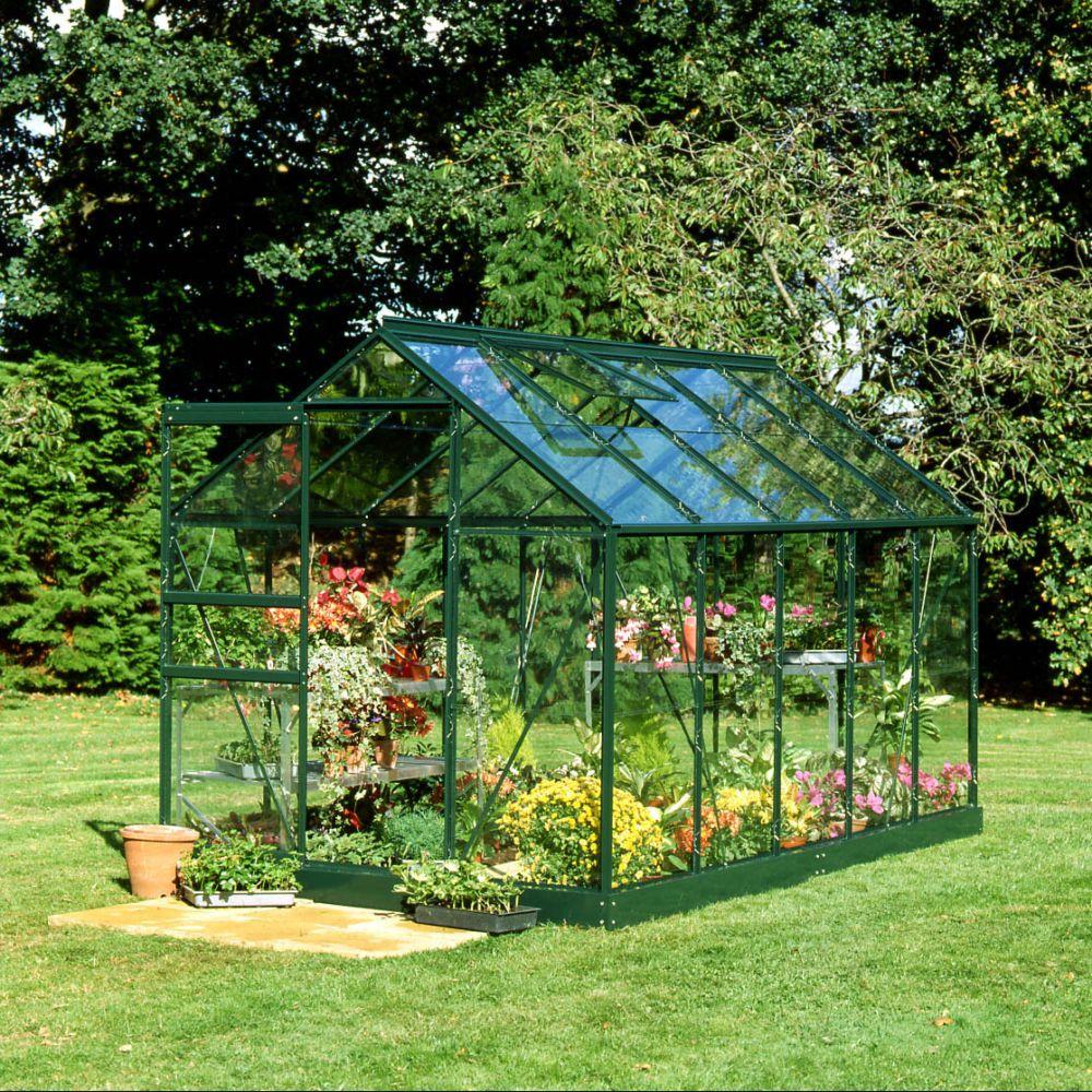 Serre en verre horticole Popular 6.20 mÂ_ vert + embase – Halls