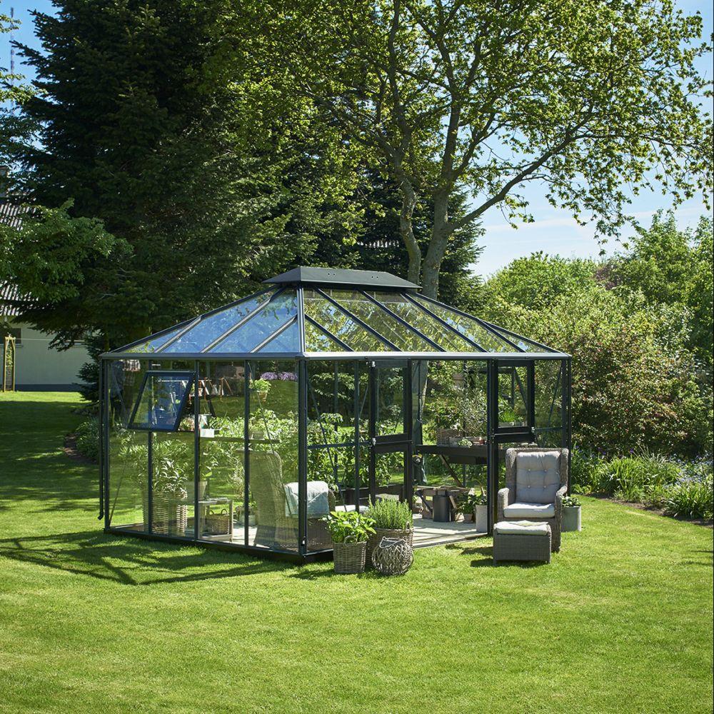serre en verre tremp grand oase 13 m anthracite embase. Black Bedroom Furniture Sets. Home Design Ideas