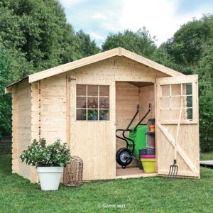 cc406924430d6 Abri de jardin en bois 6.75 m² Ep.28 mm Flodova