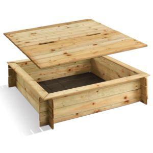 Bac à sable carré en bois traité avec couvercle- gammvert...