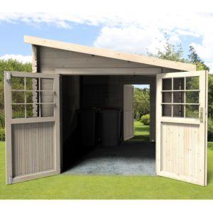 Abri de jardin bois toit plat + auvent 18,31 m² Ep. 28 mm Eden L 330 ...