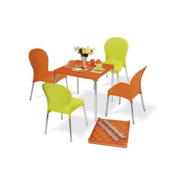 Salon de jardin 4 places Warhol: table en aluminium et pvc + 4 chaises -  Orange et Vert anis