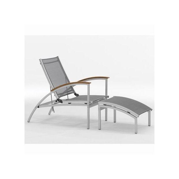 Aluminium Gris Longue Chaise Et Serpens Anthracite En Textilène A4LRj35