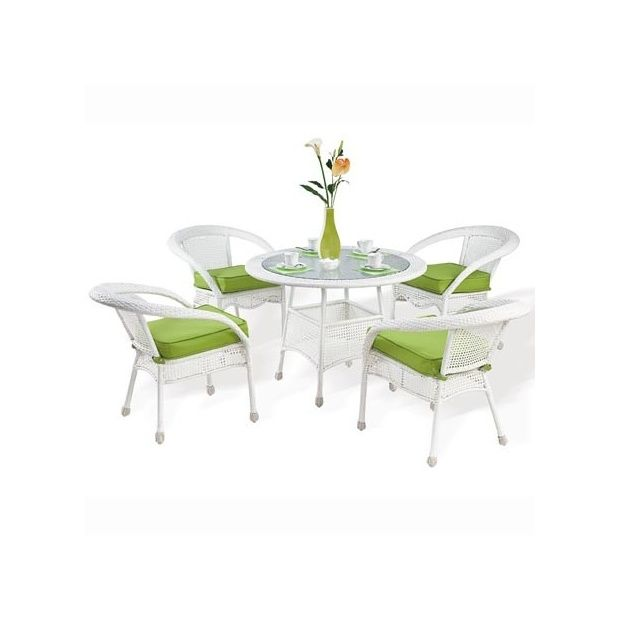 Salon de jardin 4 places Carioca en résine tressée: 1 table + 4 fauteuils -  Blanc et Vert anis