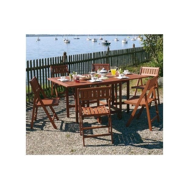 Salon de jardin en bois Keruing: table pliante + 6 chaises pliantes