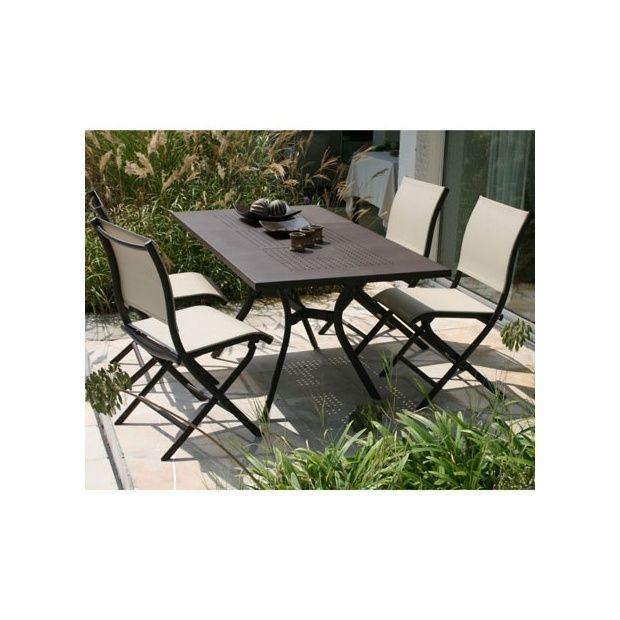 Salon de jardin Madrino en aluminium et textilène: table de jardin+6chaises