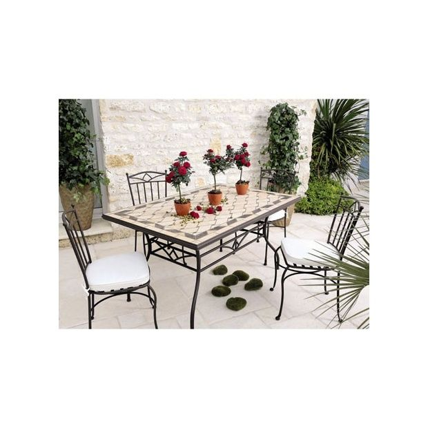 Table de jardin mosaique en marbre naturel 150 x 100 cm