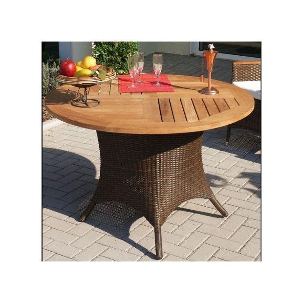 Table de jardin ronde avec plateau en teck et pieds en osier polypro ...