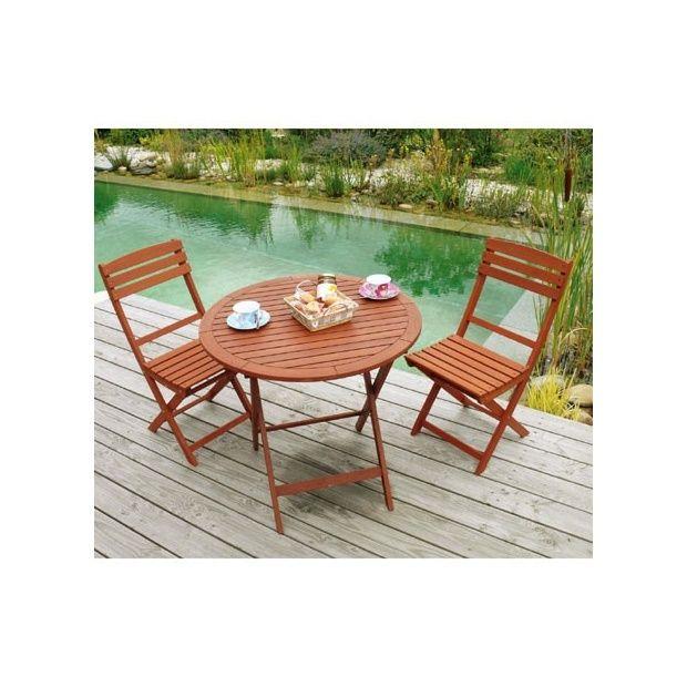 Salon de jardin en bois keruing: Table pliante ronde Diam 80 x 74 cm + 2  chaises pliantes