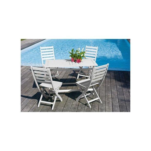 Salon de jardin 4 personnes bois blanc table balcon 120 x 60 cm