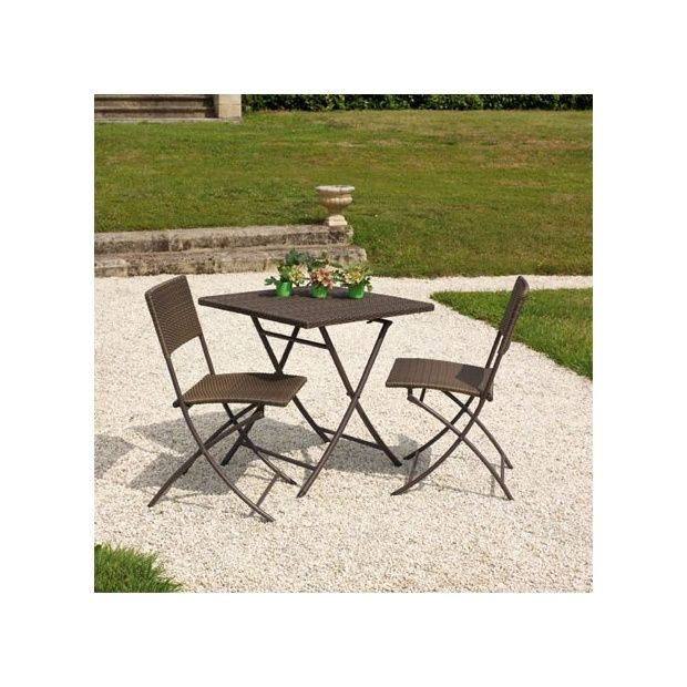 Salon de jardin 2 pers résine tressée marron Guéridon: table 70x70 ...