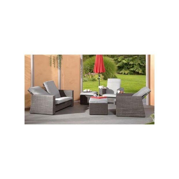 Salon de jardin Bilbao avec dossiers inclinables : 1 canapé + 2 fauteuils +  2 repose-pieds