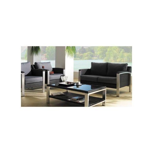 Salon de jardin bas Cannes : 1 canapé 2 places + 2 fauteuils + 1 table  basse en verre - Noir