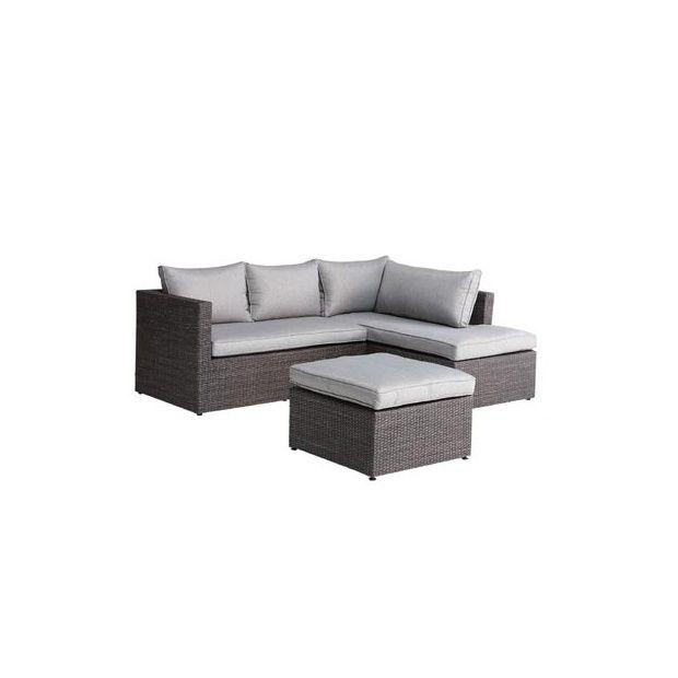 Salon d\'angle Lipari en résine tressée : canapé + méridienne + repose-pieds  - Gris