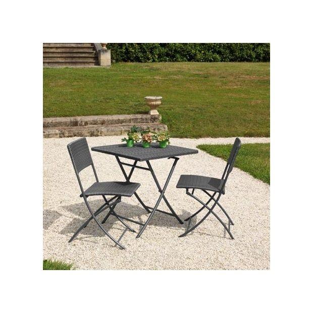 Salon de jardin 2 pers résine tressée gris Guéridon: table 70x70 pliante +  2 chaises Dolly
