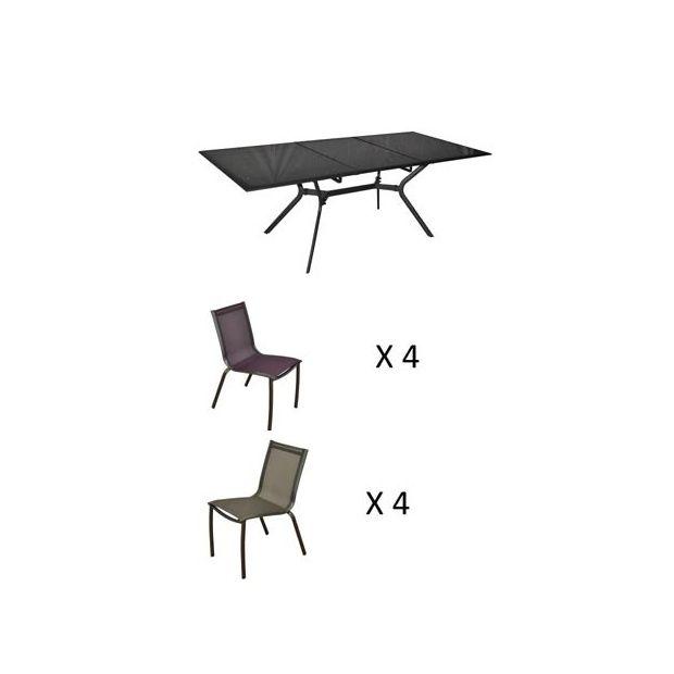 Salon de jardin : 8 chaises Linea cassis et gris + 1 table Malaga