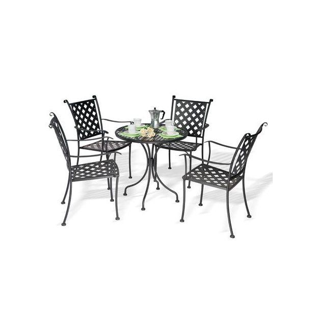 Salon de jardin Marrakech en fer forgé: 1 table ronde D 70 cm + 4 fauteuils