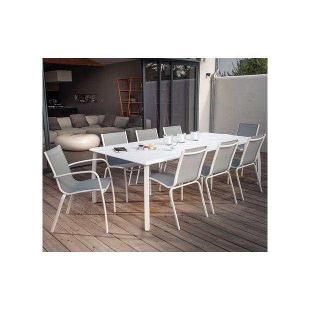 Salon 8 personnes : table Azuro 225 x 100 lin + 8 chaises Linea blanc/gris