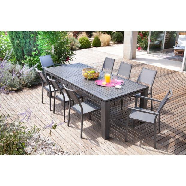 Table de jardin Fiero aluminium l200/300 L103 cm ice
