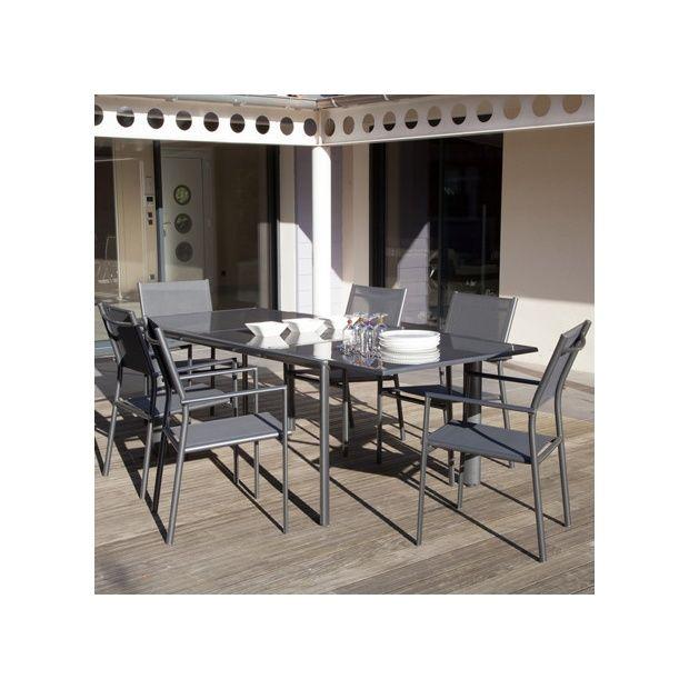 Salon de jardin : table Messina 160/230 cm + 6 fauteuils Sartene gris  anthracite