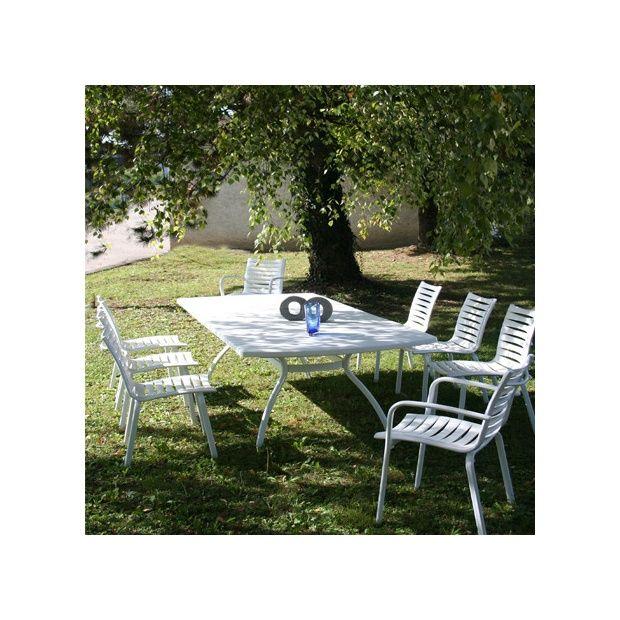 Salon de jardin Floris 8 personnes : Table + 6 chaises + 2 fauteuils - Blanc