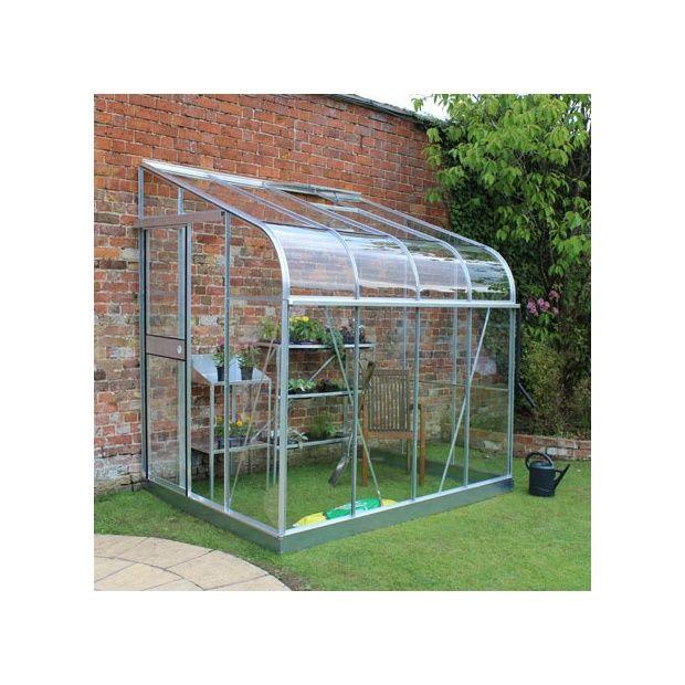 Serre de jardin adossée Silverline verre horticole 4.8 m² aluminium +  embase - Halls