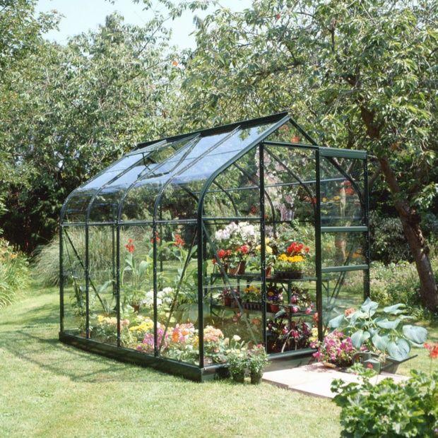 Serre de jardin Supreme verre trempé 5 m² vert + embase - Halls