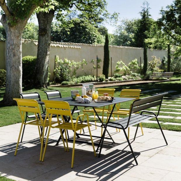 Salon de jardin Fermob Cargo : Table l128 L128 cm + 6 chaises + 1 ...