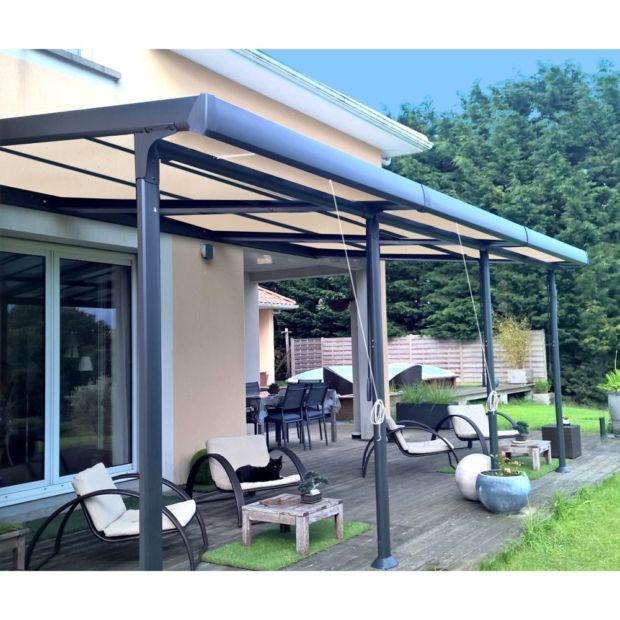 tonnelle adoss e aluminium stores enroulables 3 5x6 m. Black Bedroom Furniture Sets. Home Design Ideas