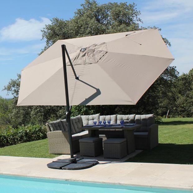 Parasol d centr aluminium 4 2x3 m marco gris 257x39x18 cm - Parasol deporte rectangulaire 4x3 ...