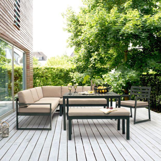 Salon de jardin Kettler Océan : canapé d\'angle + table + banc + ...