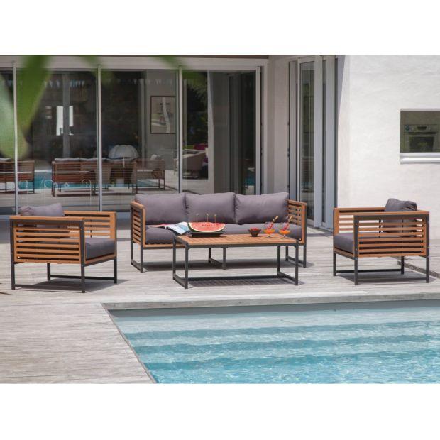 Salon de jardin bas Végas aluminium/bois : 1 canapé + 2 fauteuils + 1 table