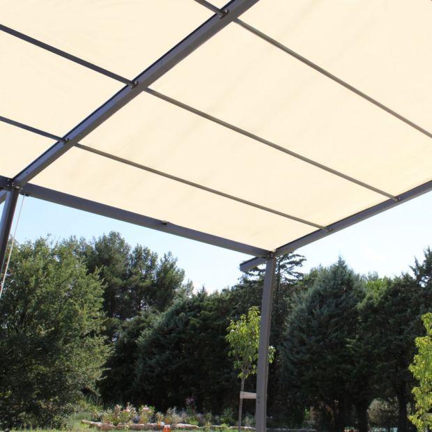 tonnelle adossé aluminium  toile renforcé 4x335m solea 3