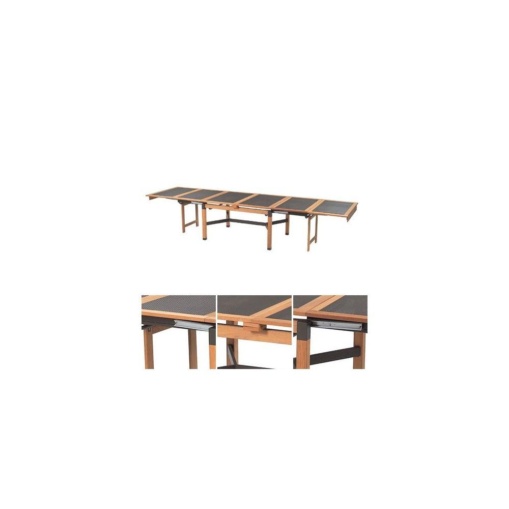 Table de jardin extensible Cetra 140 + 260 x 110 x 78 cm en teck et acier  vernis - EMU