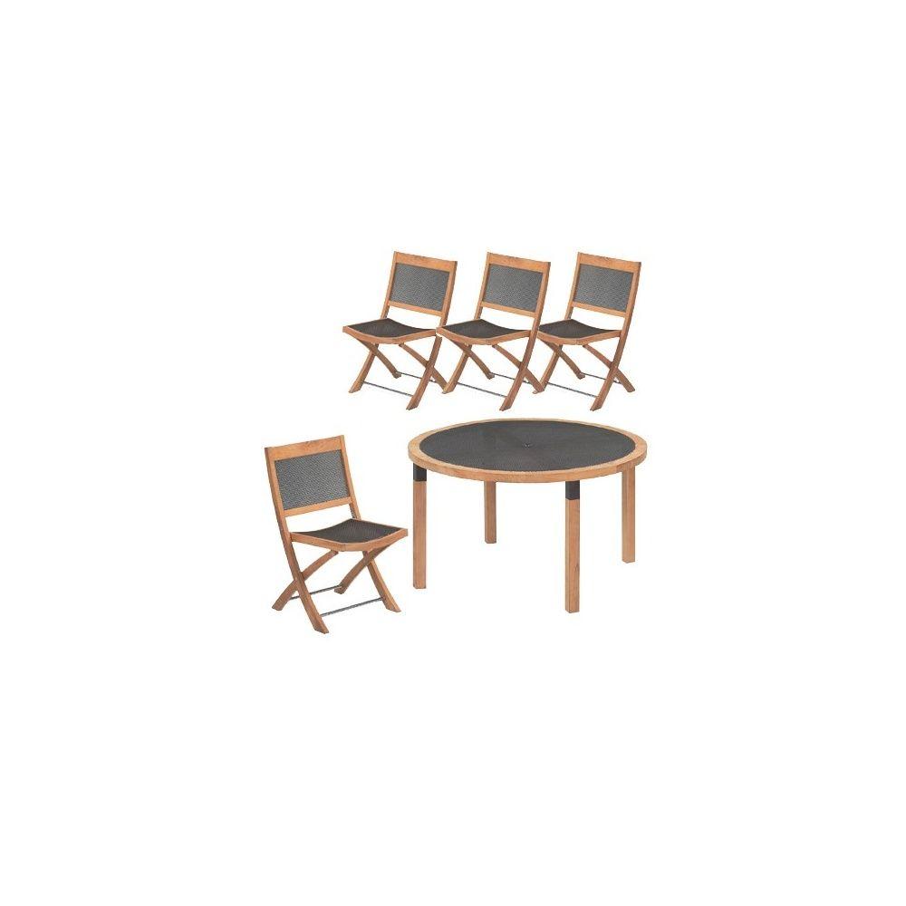 Salon de jardin 4 places Cetra en teck et acier: 1 table D 130 cm + 4  chaises pliables - EMU